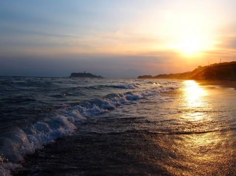 夕方の海岸