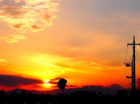 富士山と夕日イメージ